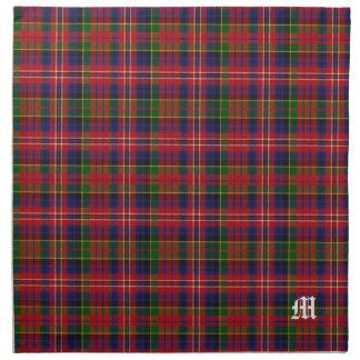 Tela escocesa de tartán elegante del monograma de servilleta imprimida