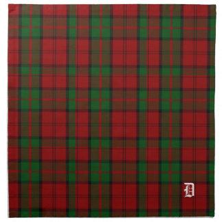Tela escocesa de tartán elegante del monograma de servilletas de papel