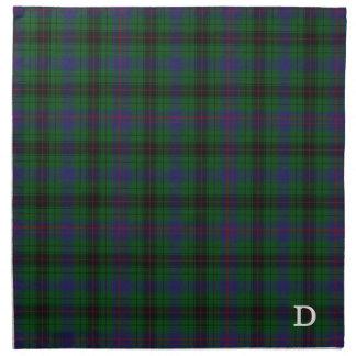 Tela escocesa de tartán elegante del monograma de servilletas imprimidas