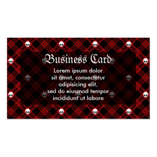 Tela escocesa de tartán gótica del cráneo tarjetas de visita