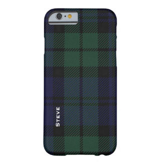 Tela escocesa de tartán negra del reloj funda de iPhone 6 barely there
