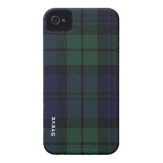 Tela escocesa de tartán negra del reloj iPhone 4 fundas