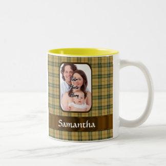 Tela escocesa de tartán personalizada de taza de dos tonos
