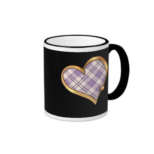 Tela escocesa de tartán púrpura taza de café