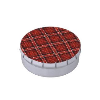 Tela escocesa de tartán reluciente en rojo y negro latas de caramelos