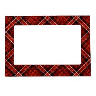 Tela escocesa de tartán reluciente en rojo y negro marcos magneticos