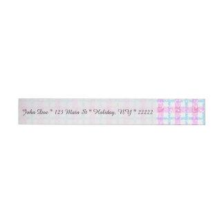 Tela escocesa de tartán reluciente en rosa y azul etiquetas envolventes de dirección