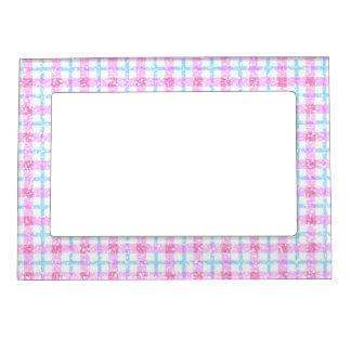 Tela escocesa de tartán reluciente en rosa y azul marcos magnéticos de fotos