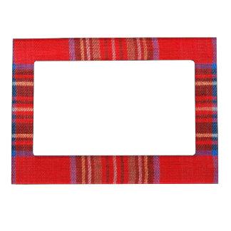 Tela escocesa de tartán roja marcos magneticos para fotos