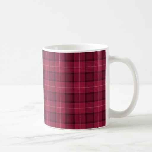 Tela escocesa de tartán roja y rosada tazas