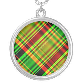 Tela escocesa de tartán roja y verde colgante redondo