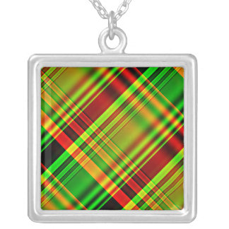 Tela escocesa de tartán roja y verde colgante cuadrado