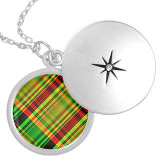 Tela escocesa de tartán roja y verde medallón