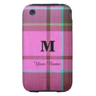 Tela escocesa de tartán rosada femenina tough iPhone 3 fundas