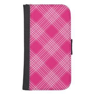 Tela escocesa de tartán rosada cartera para galaxy s4