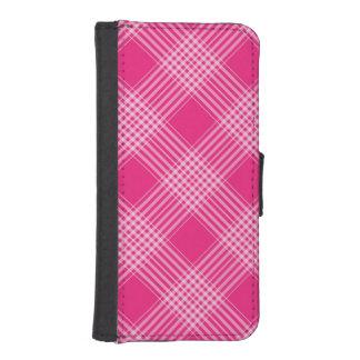 Tela escocesa de tartán rosada fundas cartera para teléfono