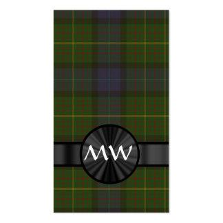 Tela escocesa de tartán verde del estado de tarjetas de visita