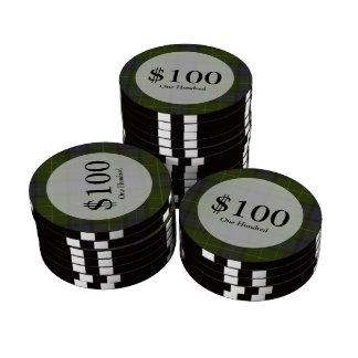 Tela escocesa de tartán verde juego de fichas de póquer