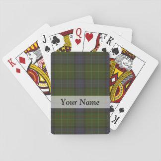 Tela escocesa de tartán verde cartas de póquer