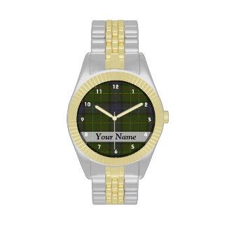 Tela escocesa de tartán verde relojes