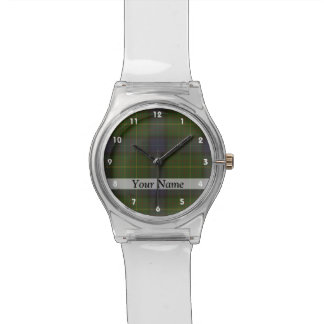 Tela escocesa de tartán verde reloj de mano