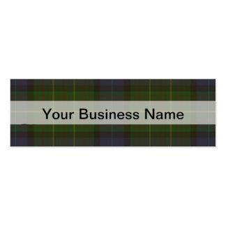Tela escocesa de tartán verde plantilla de tarjeta de visita
