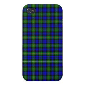 Tela escocesa de tartán verde y azul iPhone 4/4S carcasas