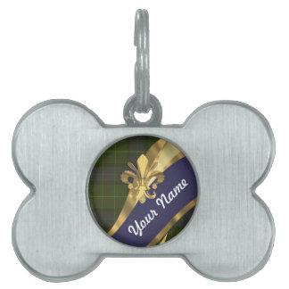 Tela escocesa de tartán verde y azul placas mascota