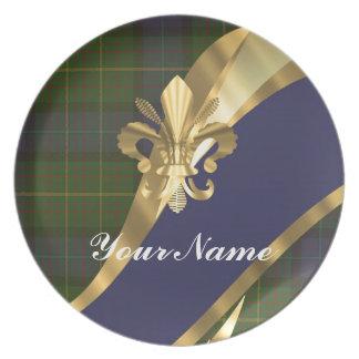 Tela escocesa de tartán verde y azul plato de cena