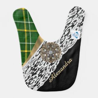 Tela escocesa de tartán verde y cordón blanco babero para bebé