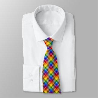 Tela escocesa del arco iris corbata personalizada
