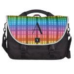 Tela escocesa del arco iris del monograma bolsas para ordenador