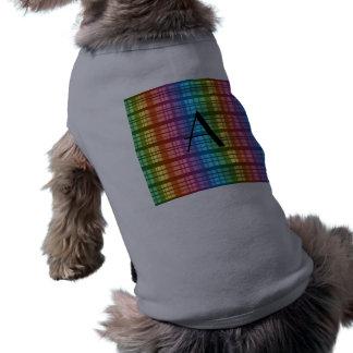 Tela escocesa del arco iris del monograma camisa de mascota