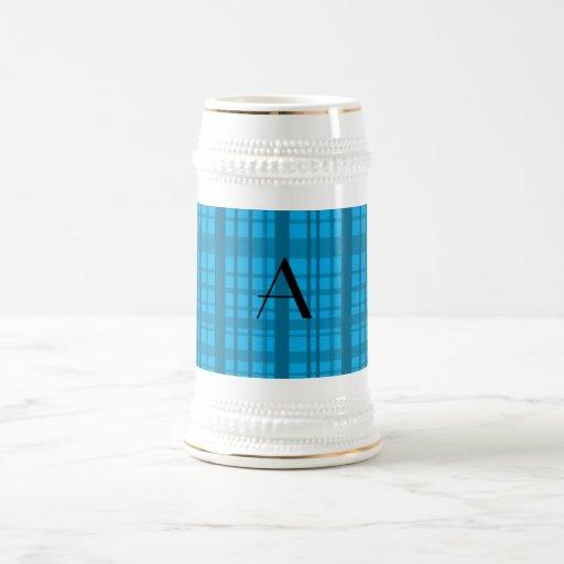 Tela escocesa del azul de cielo del monograma tazas