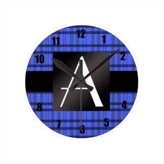 Tela escocesa del azul del monograma relojes