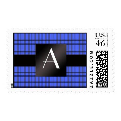 Tela escocesa del azul del monograma sellos