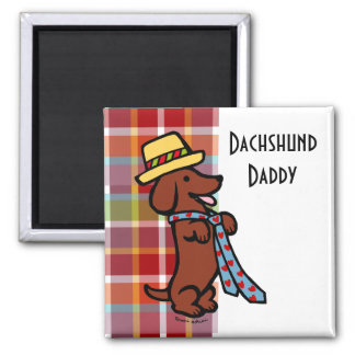 Tela escocesa del dibujo animado del Dachshund del Imán Cuadrado