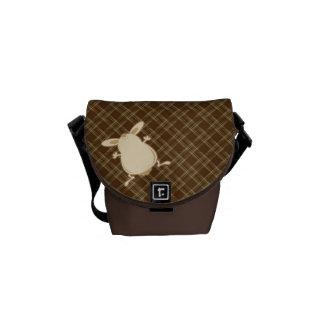 Tela escocesa del marrón del ejemplo del dibujo an bolsas de mensajeria