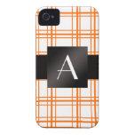 Tela escocesa del naranja del monograma Case-Mate iPhone 4 protectores