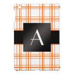 Tela escocesa del naranja del monograma iPad mini coberturas