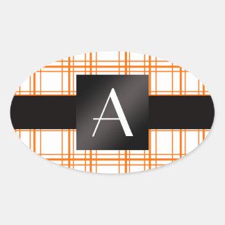 Tela escocesa del naranja del monograma colcomanias óval personalizadas