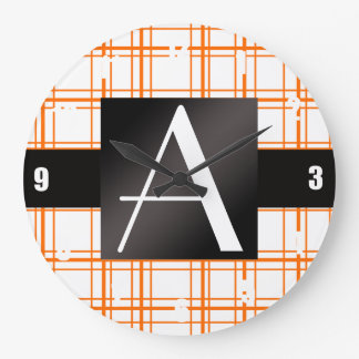 Tela escocesa del naranja del monograma relojes
