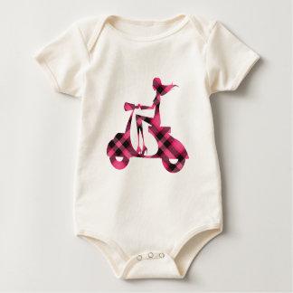 tela escocesa del negro del rosa de la vespa del mameluco de bebé