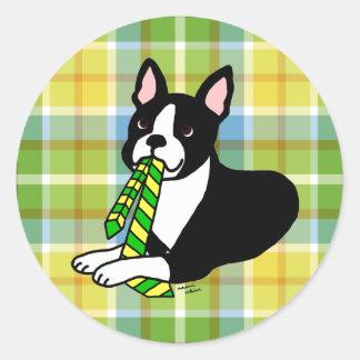 Tela escocesa del papá 1 de Boston Terrier Pegatina Redonda
