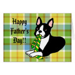 Tela escocesa del papá 1 de Boston Terrier Felicitacion