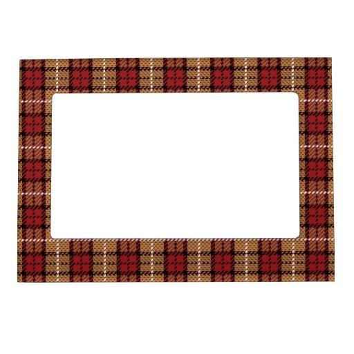Tela escocesa del pixel en rojo y oro marcos magneticos