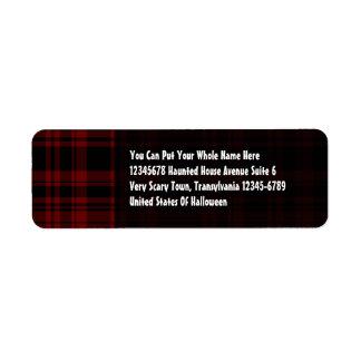 Tela escocesa del Punky roja sangre Etiqueta De Remite