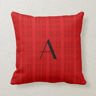 Tela escocesa del rojo del monograma cojin