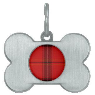 Tela escocesa del rojo del tartán de Oxygentees Placa De Nombre De Mascota