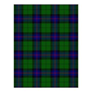 Tela escocesa del verde azul del tartán del clan membretes personalizados